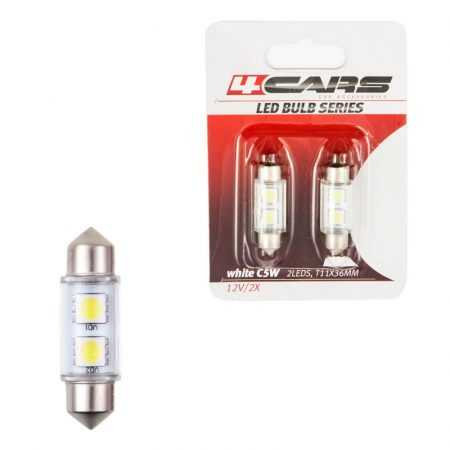 Izzó 2LED 12V FESTOON SMD T11x36 mm, 2 db