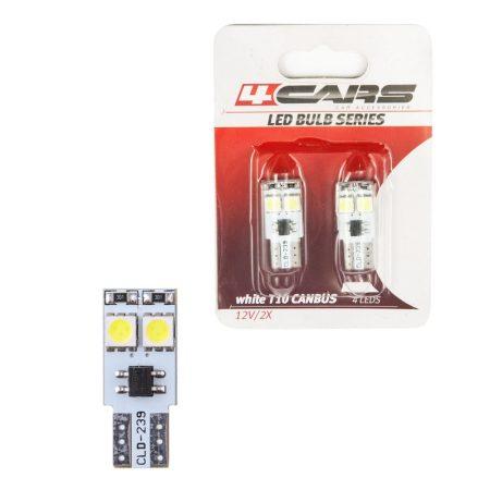 Izzó 4LED 12V CANBUS 5050SMD T10, 2 db