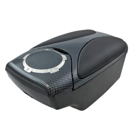 Könyöklő box 15 cm széles, fekete-carbon mintás