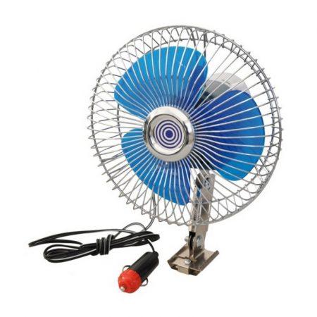 Ventilátor 12V, oszcilláló, fémrácsos, 17 cm