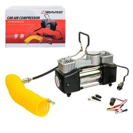 Kompresszor fémházas 12V, LED lámpa, spirál tömlő