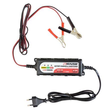 Akkumulátor töltő, intelligens 6-12V, 1A, 5 STEP