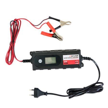 Akkumulátor töltő, intelligens 6-12V, 4A, 6 STEP