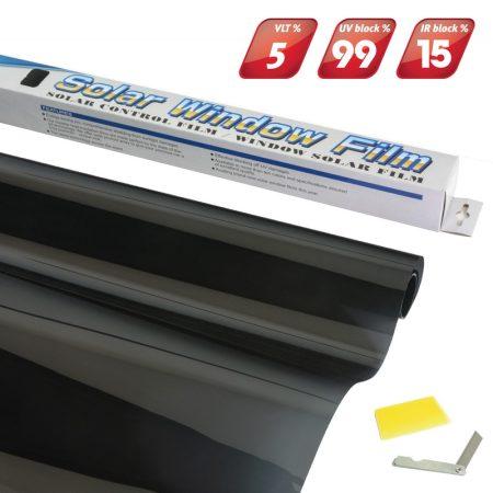 Ablakfólia Super Dark Black 50x300 cm 5% fényáteresztő
