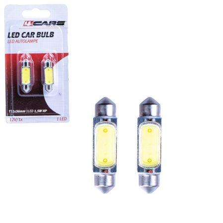 Izzó 1 SMD LED 12V 1,5W T11x36 mm, 2 db - 96764