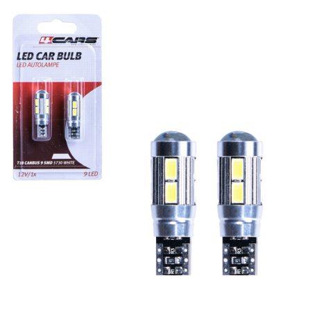 Izzó 9 SMD LED 5730 CANBUS 12V T10, 2 db - 96788